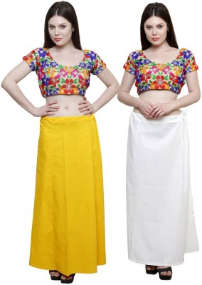 eFashionIndia White_Yellow Cotton Petticoat