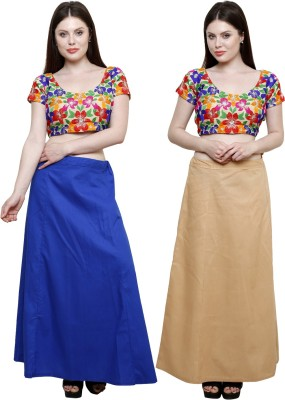 Pistaa Ink Blue and Skin Cotton Petticoat