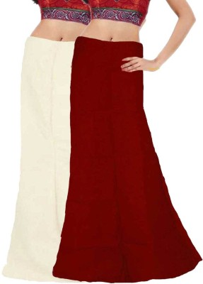 Javuli ja1-in-white-maroon Cotton Petticoat