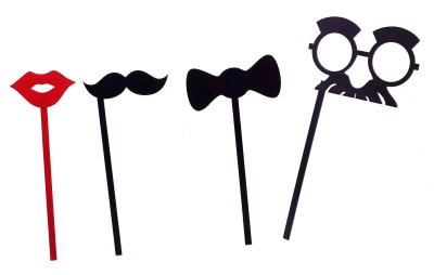 Funcart Aryclic Party Props Lips, Mustache, Bow, Sunglasses With Mustache Photo Booth Board