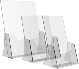 Delite Acrylic Desktop Literature Holder Stand - 1 Pc A4 Size (12 inch x 8 inch) and 2 Pc A5 Size - 8 inch x 6 inch Plain