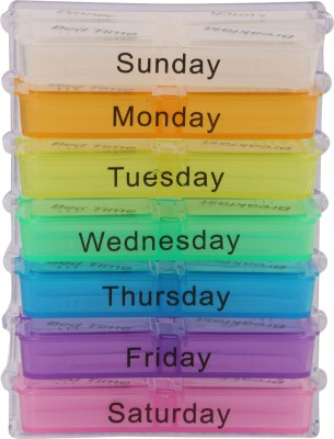 TG 1 week Pill Pill Box Medical Storage with Detachable Compratments(Multicolor)