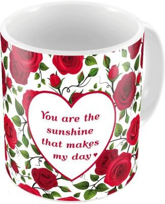 Indiangiftemporium Red Designer Romantic Print Coffee s Pair 731 Ceramic Mug