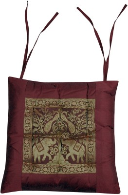 Lal Haveli Living Room Décor Ethnic Brocade Work Animal Silk Seat Pad With Cotton Filling Maroon Chair Cushion