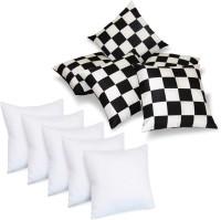 Zikrak Exim Checks Back Cushion Pack of 5(Black & White)
