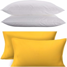 Clasiko Solid Bed/Sleeping Pillow Pack of 2(Yellow)