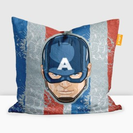 "Disney Captain America Printed Cushion Filled with Microbeads - Pack of 1 (16""x16"") Travel Pillow(Pack of 1, Multicolor)"