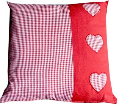 Five Seasons House Pillow - Red/White Check With Heart Designs Bed/Sleeping Pillow