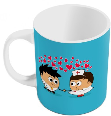 Home India Blue Designer Romantic Printed Coffee  Pair 798 Ceramic Mug