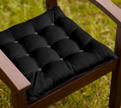 Lushomes Plain Chair Cushion(Pack of 1, Sedona Sage and Pirate Black)