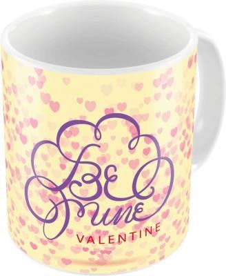 Indiangiftemporium Cream Color Designer Romantic Print Coffee  744 Ceramic Mug