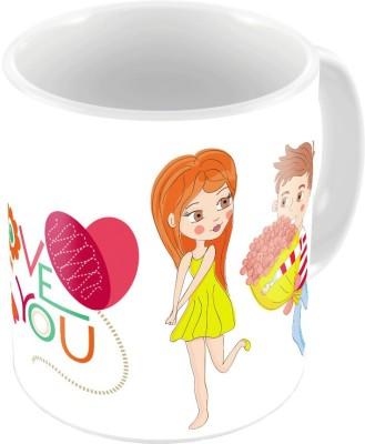 Home India White Designer Romantic Print Coffee s Pair 629 Ceramic Mug