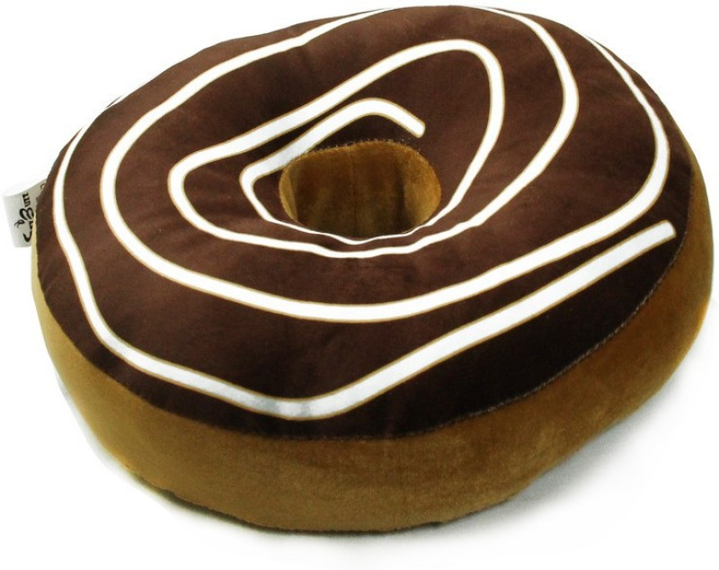 StyBuzz Printed Donut Pillow Pack of 1(Brown)
