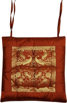 Lal Haveli Home Décor Animal Design Silk Chair Pad With Cotton Filling Brown Chair Cushion