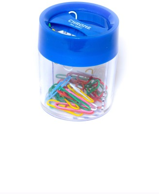 Chrome Round Small Pin Clip Dispenser(Blue, 200 Pins)