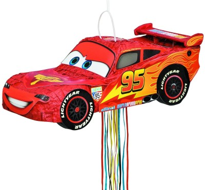 Disney Cars Lightning McQueen Pinata Pull String Pinata(Red, Pack of 1)