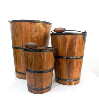Indune Wooden Bucket - (Set Of Three) Plant Container Set