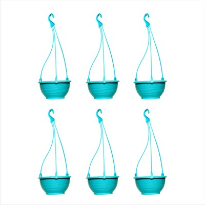 Planters Sky Blue Venus Hanging Plant Container Set(Pack of 6, Plastic)