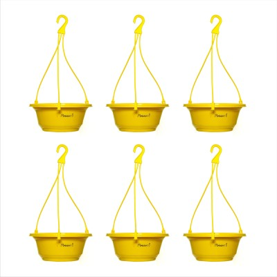 Planters Yellow Karishma Hanging Plant Container Set(Pack of 6, Plastic)