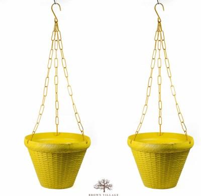 Brown Village Yellow Hanging Plant Basket Set Plant Container Set