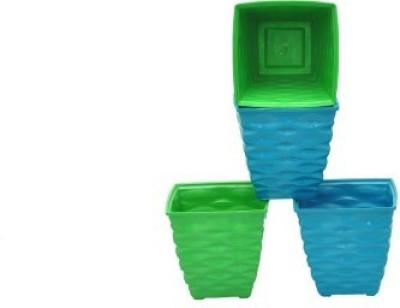 PLANTERS MULTI COLOR POTS Plant Container Set(Pack of 4, Plastic)