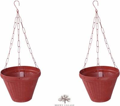 Brown Village Colourful Basket Plant Container Set