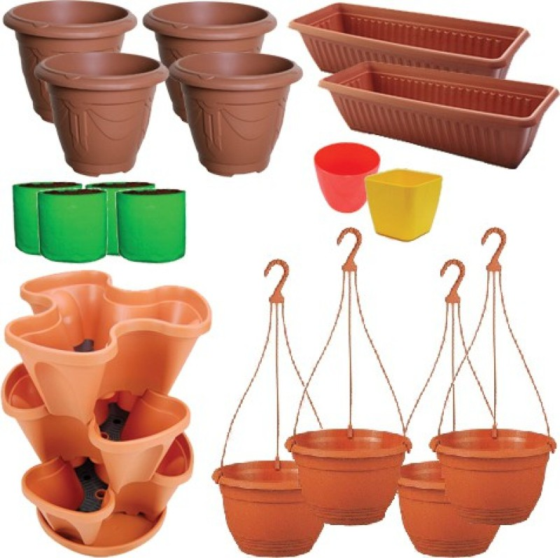 Martha Plant Container Set(Pack of 17, Plastic)