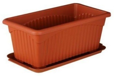 GZ Green set of 5 - 13 inch Rectangular planters with trays Plant Container