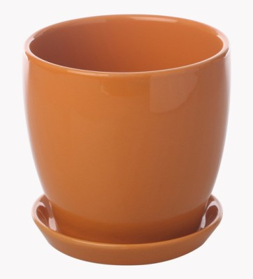 Gaia Pottery Gaia Orange Glazed Ceramic 6 x 6.5 Inch Table Top Planter with Plate Plant Container