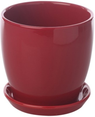 Gaia Pottery Gaia Red Glazed Ceramic 6 x 6.5 Inch Table Top Planter with Plate Plant Container