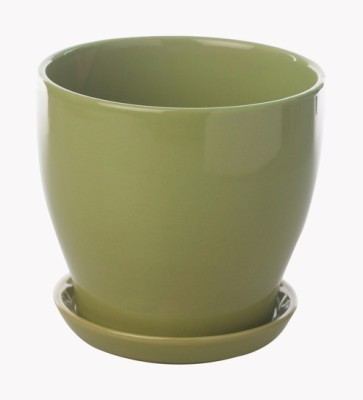 Gaia Pottery Gaia Green Glazed Ceramic 7 x 7.5 Inch Table Top Planter with Plate Plant Container