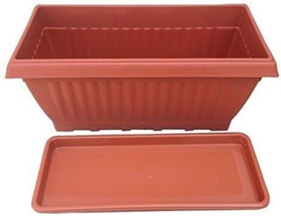 GZ Green set of 3 - 20 inch Rectangular planters with Plates (Brown colour) Plant Container