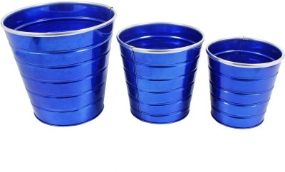 Shrih Handcrafted Blue Powder Coated Iron Planters Set of 3 Pcs Plant Container