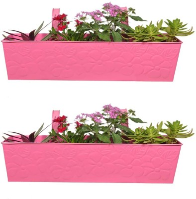 TrustBasket Set Of 2 Rectangular Railing Planter - Pink Embossed (23 Inches) Plant Container
