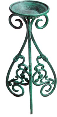 Karara Mujassme Victorian Style Hand-Crafted Antique Green Cast Iron Planter Plant Container