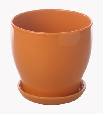 Gaia Pottery Gaia Orange Glazed Ceramic 7 x 7.5 Inch Table Top Planter with Plate Plant Container