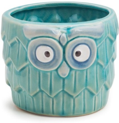 Chumbak Fluffy Owl Planter - Blue Plant Container