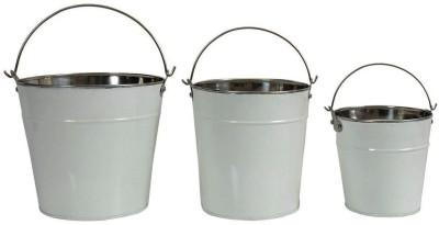 Shrih Classic Design White Metal Planters Set of 3 Pcs Plant Container