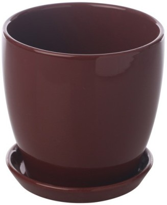 Gaia Pottery Gaia Brown Glazed Ceramic 6 x 6.5 Inch Table Top Planter with Plate Plant Container