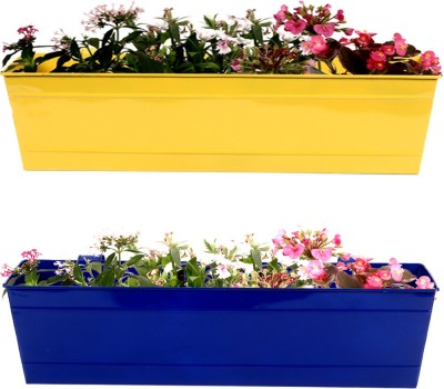 TrustBasket Set Of 2- Rectangular Railing Planter Plant Container