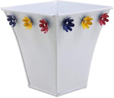 Shrih White Powder Coated Metal Handcrafted Planter Plant Container
