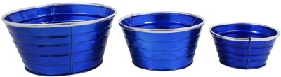Shrih Blue Powder Coated Handcrafted Iron Planters Set of 3 Pcs. Plant Container