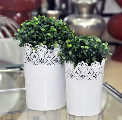 Logam Matt white lace planters & pen stand ( Set of two) Plant Container