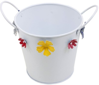 Shrih Multicolored Floral Motifs Bucket Planter With 2 Handles Plant Container