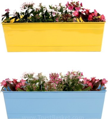 TrustBasket Set of 2 - Rectangular Railing Planter Plant Container