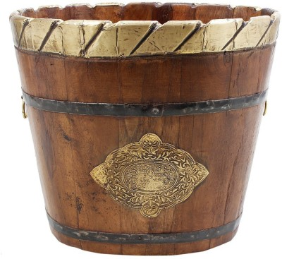 Shrih Handcrafted Wood with Iron Brass Planter Plant Container