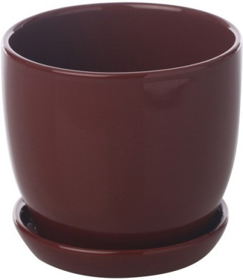 Gaia Pottery Gaia Brown Ceramic Glazed Table Top Planter Plant Container