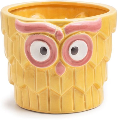 Chumbak Fluffy Owl Planter - Yellow Plant Container
