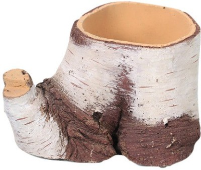 Gaia Pottery Gaia Woodlike planter - White And Brown Plant Container