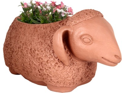 TrustBasket Sheep Planter Terracotta Handmade Plant Container